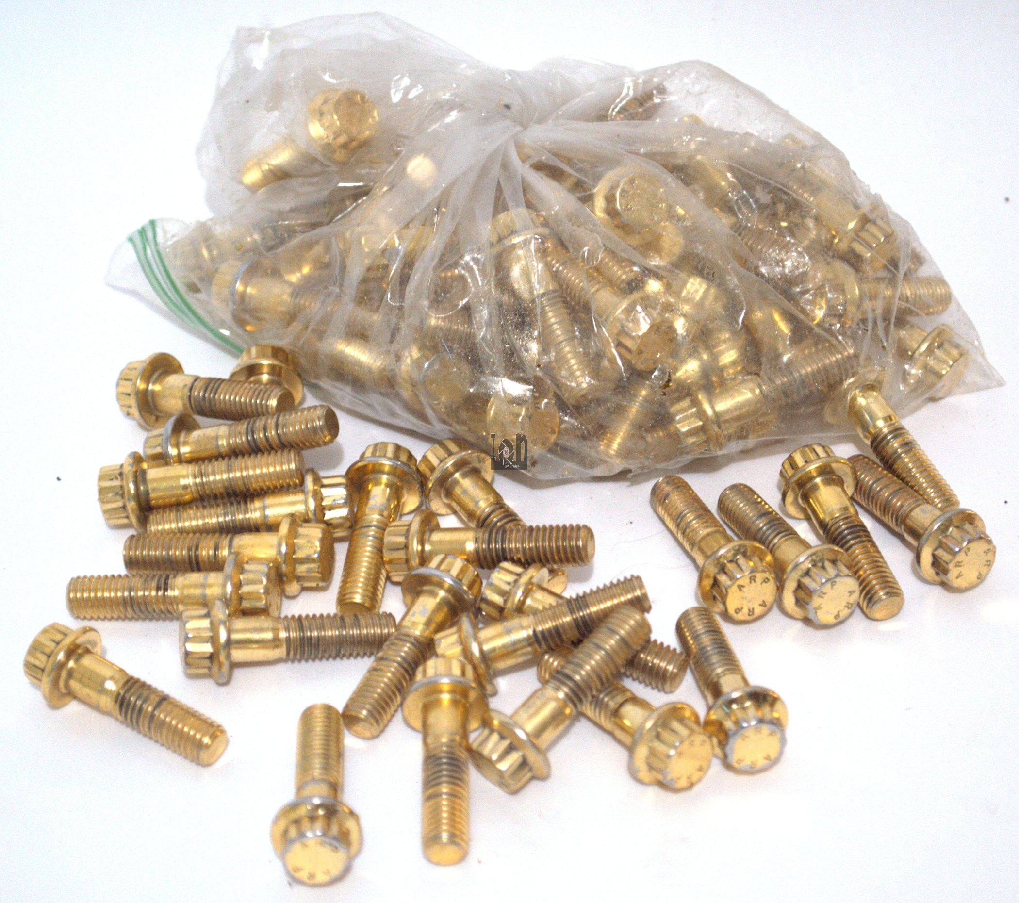 10pc Lot of ARP M8 Bolts M8x1.25 x 30mm x 20mm 12pt 12 point Gold Ring Gead Head Bolts