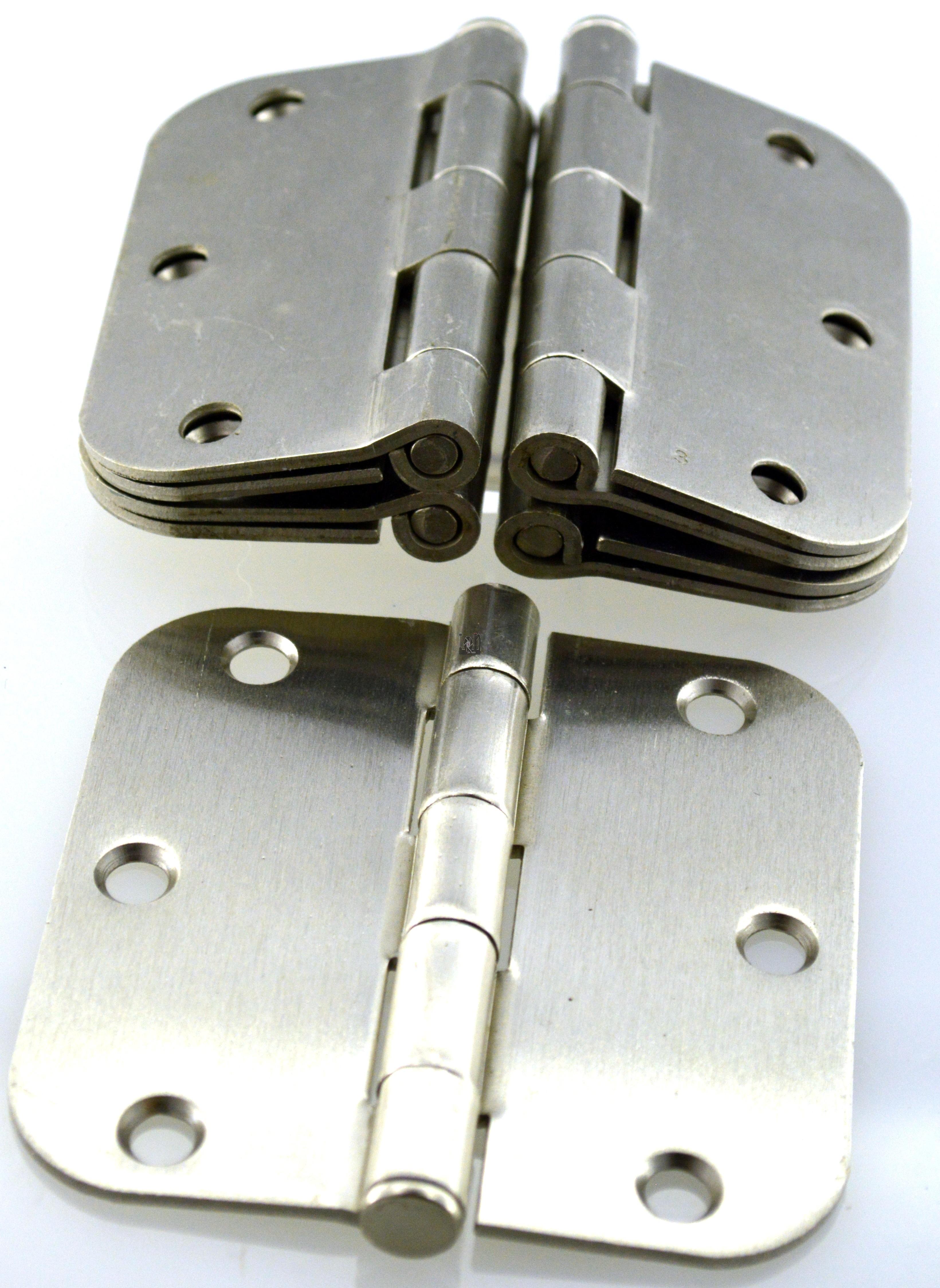 """16pc Lot 3.5"""" x 3.5"""" Door Hinges Brushed Nickel Round"""