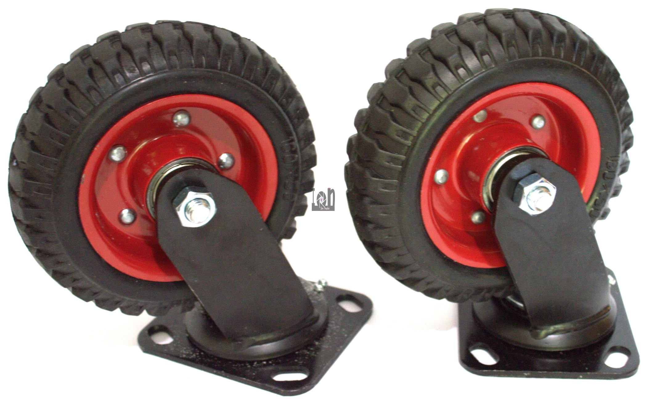 "2pc 6"" Black Rubber Swivel Caster Wheels 6.25"" Tall Heavy Duty Knobby"