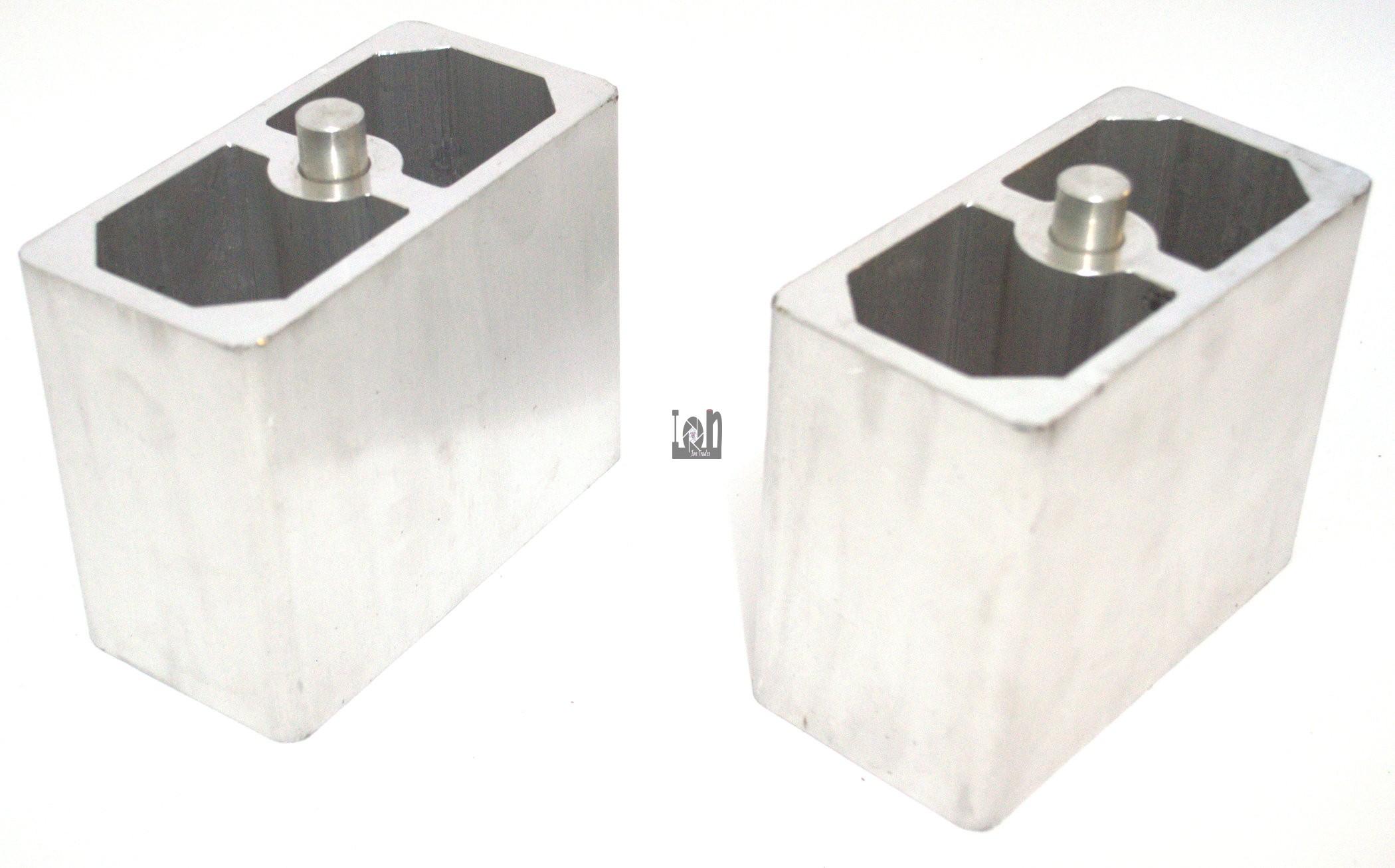 """2pc Aluminum Lift Blocks 4"""" Hollow Aluminum 4x2.5x5in"""