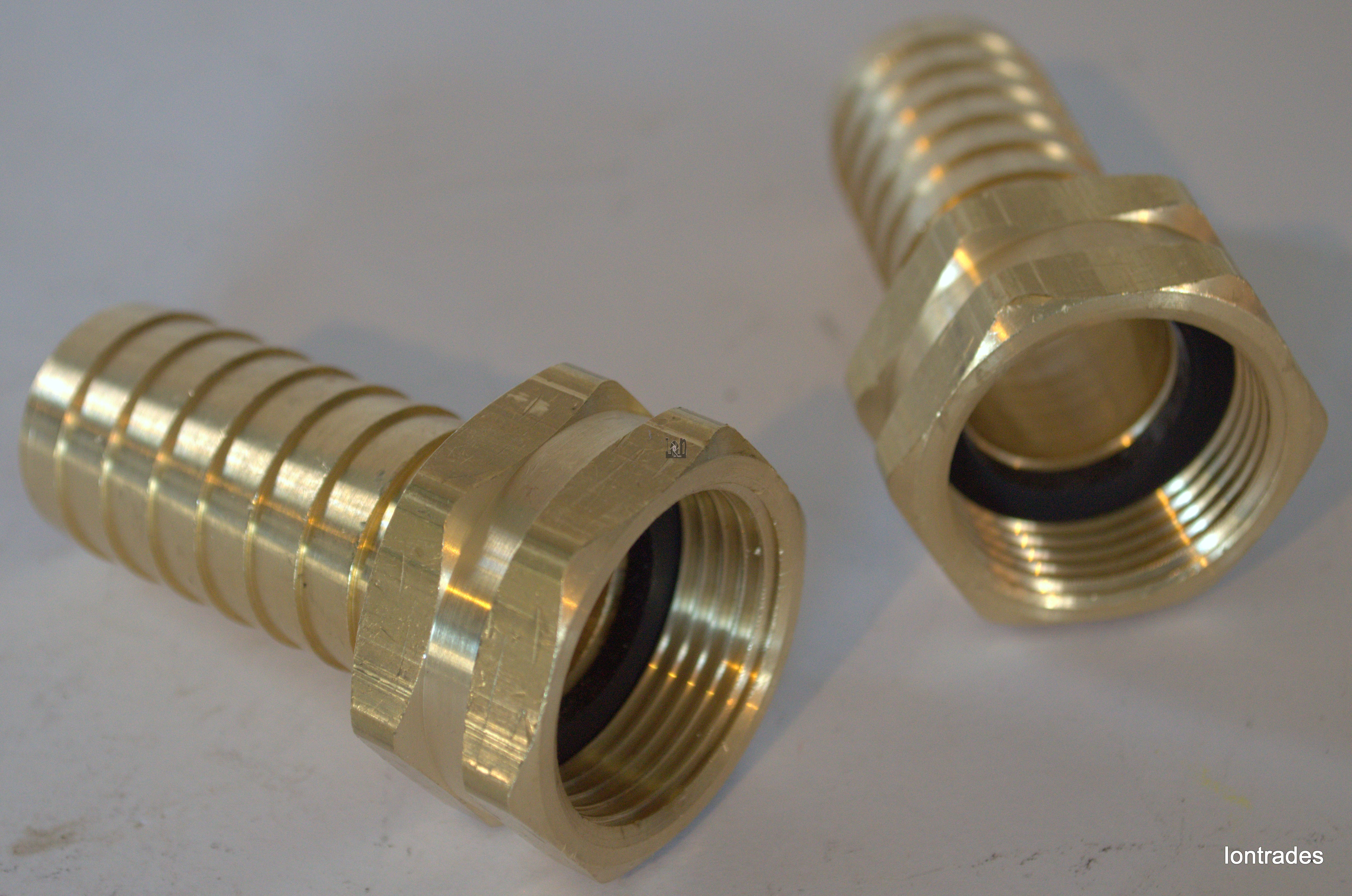 """2pc Lot Brass NPT to Barb Fitting FEMALE 1"""" NPT to MALE 1"""" NIpple"""