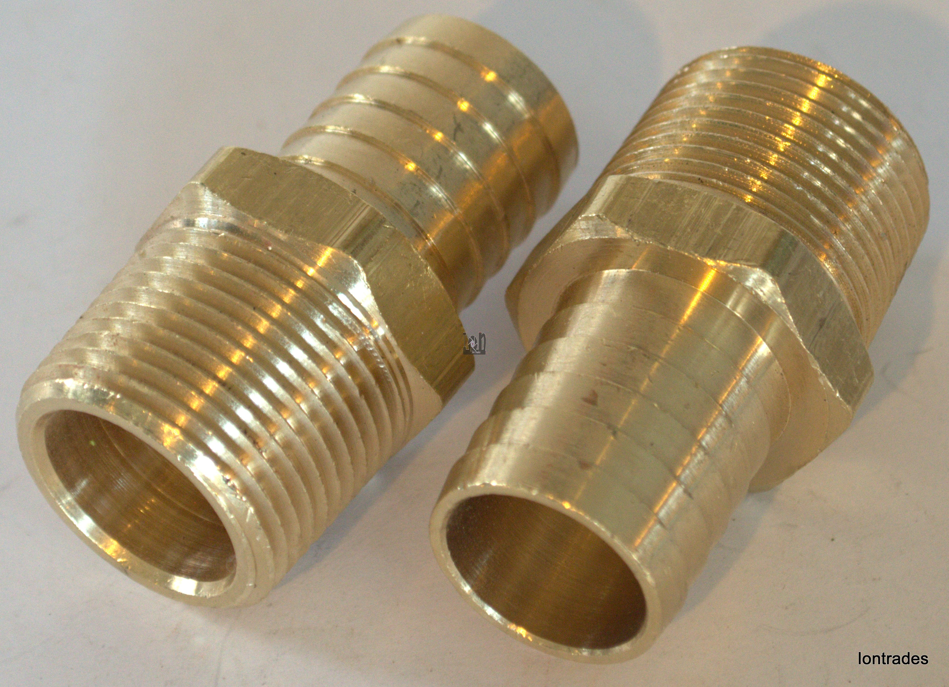 "2pc Lot Brass NPT to Barb Fitting MALE 1"" NPT to MALE 1"" NIpple"