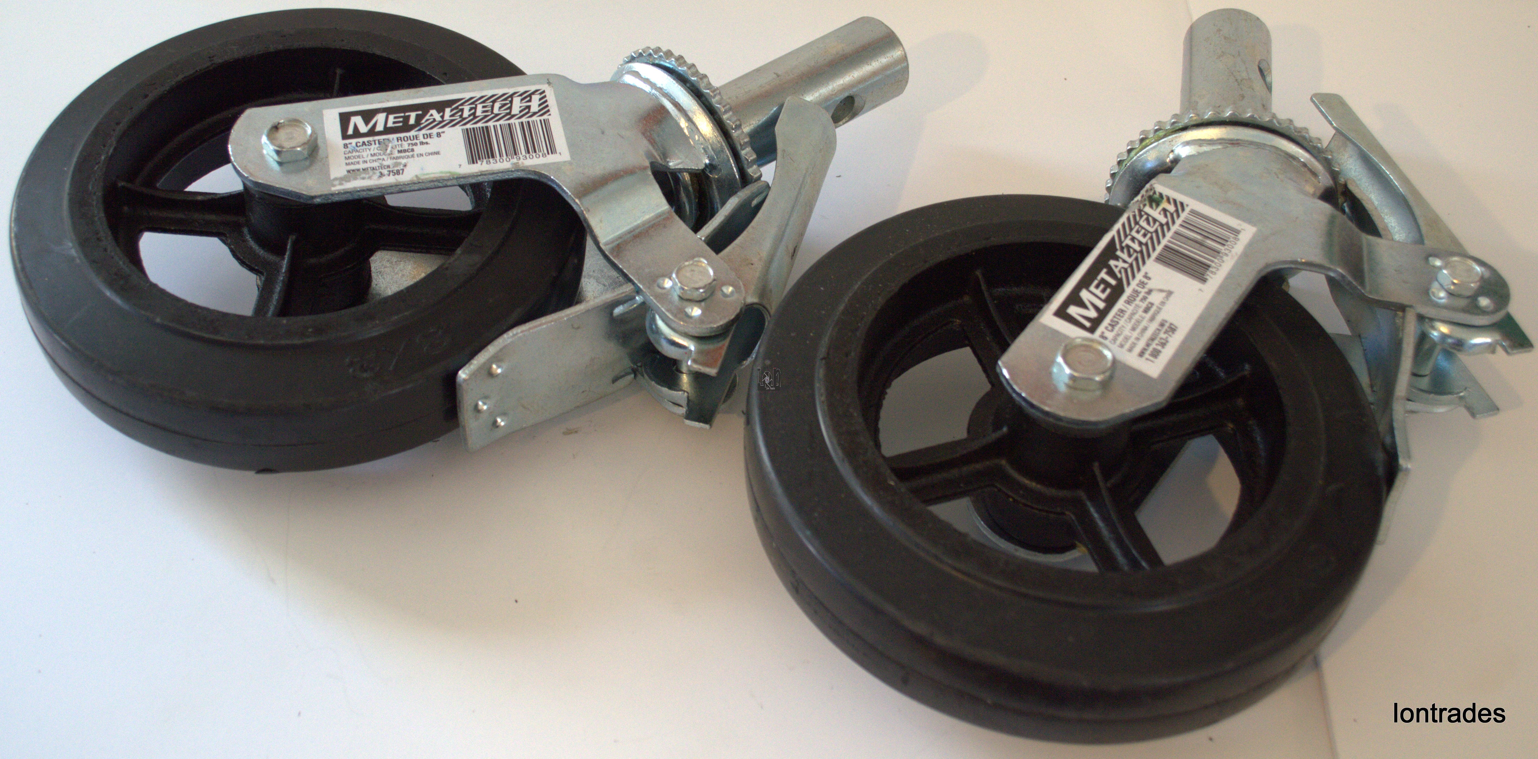 "2pc Lot Metaltech 8"" Caster Wheels750lb Scaffold Swivel Locking"