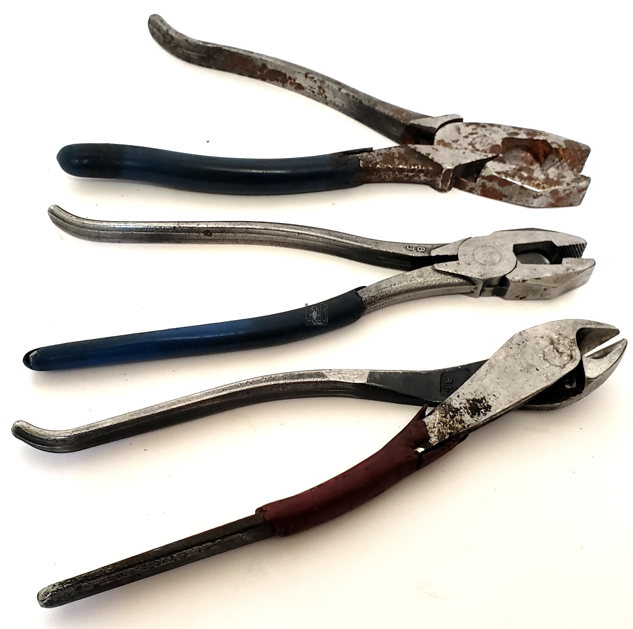 "3pc Lot Klein Pliers USA Made Tools Diagonal Cutters 9"" Vintage"