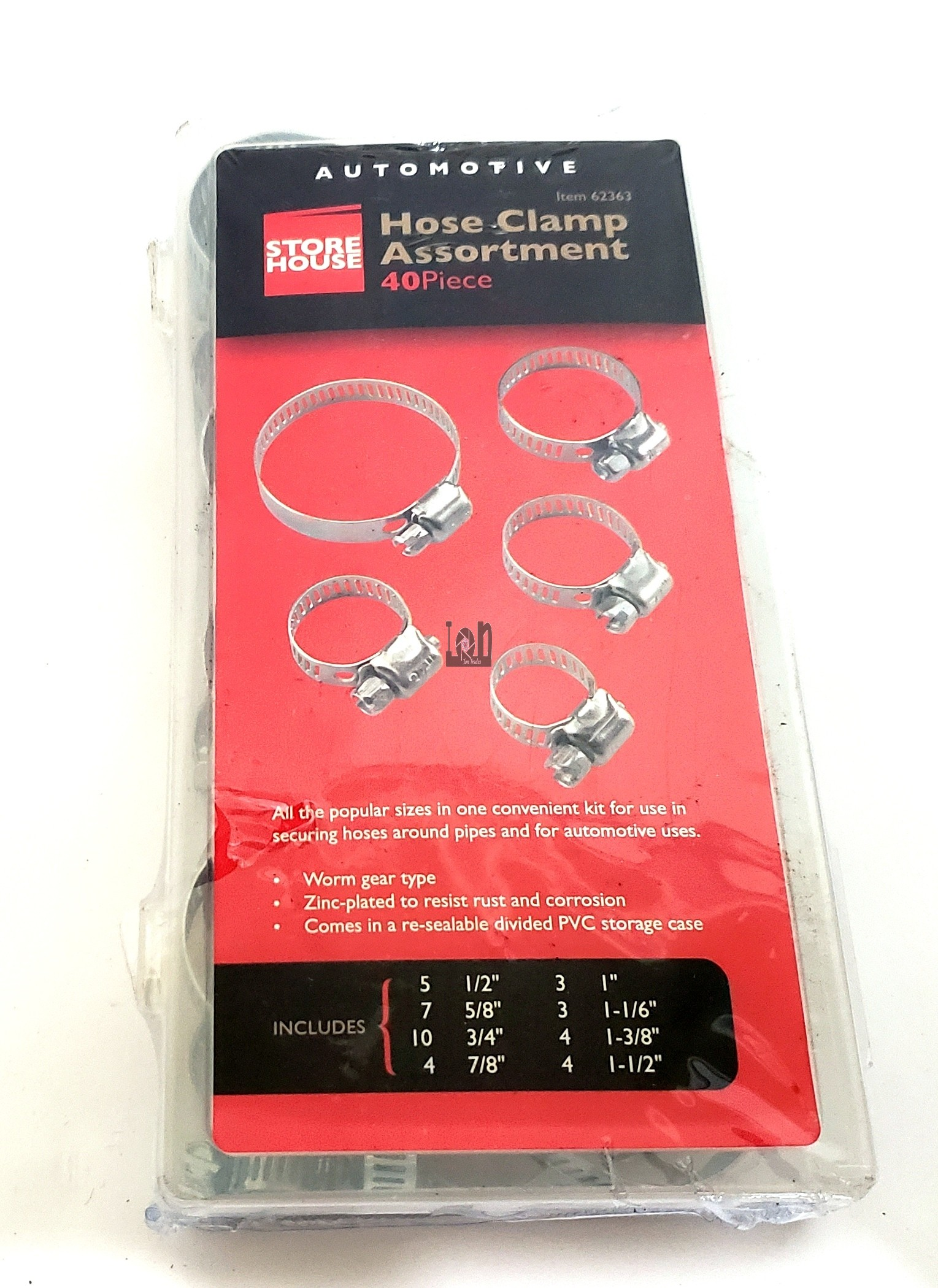 """40pc Hose Clamp Assortment Pack 1-1/2"""" to 1/2"""" Worm Gear"""