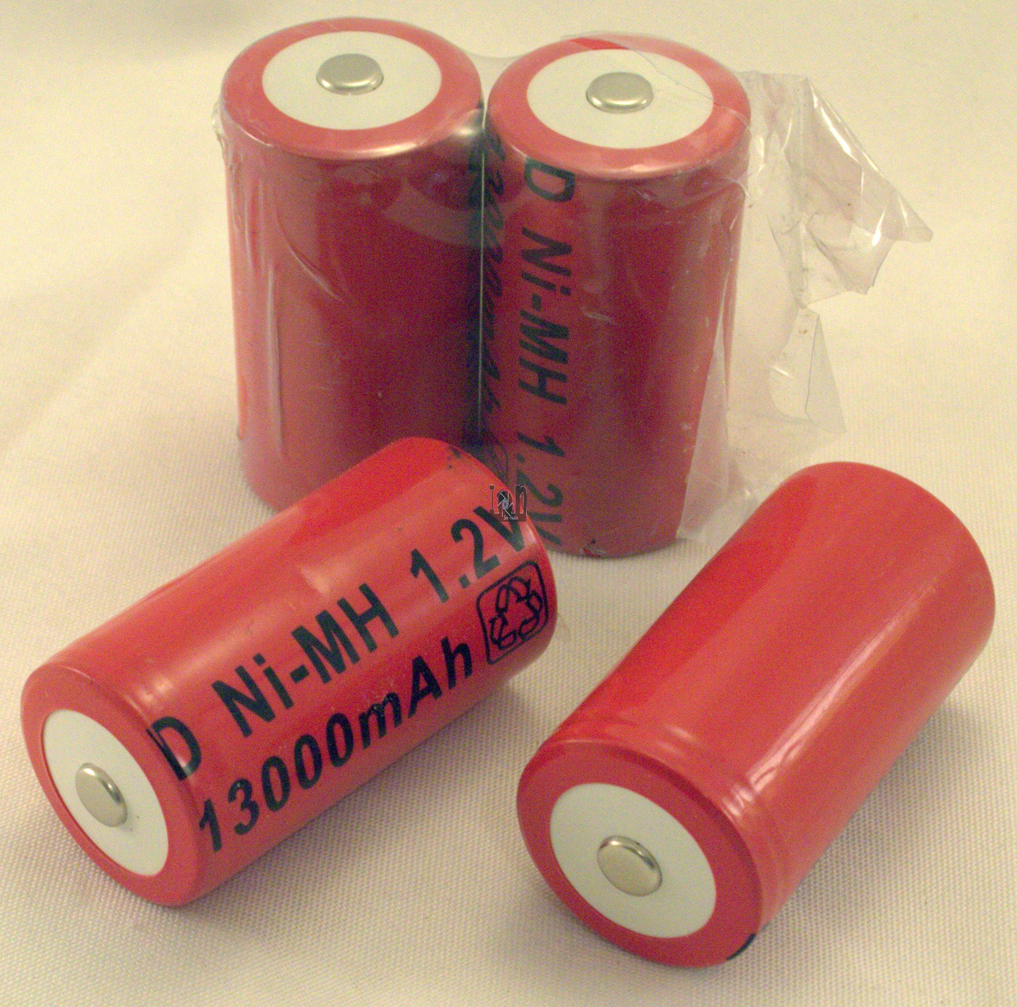 4pc lot D-Size Rechargeable Batter 1300mAh Ni-Mh RED
