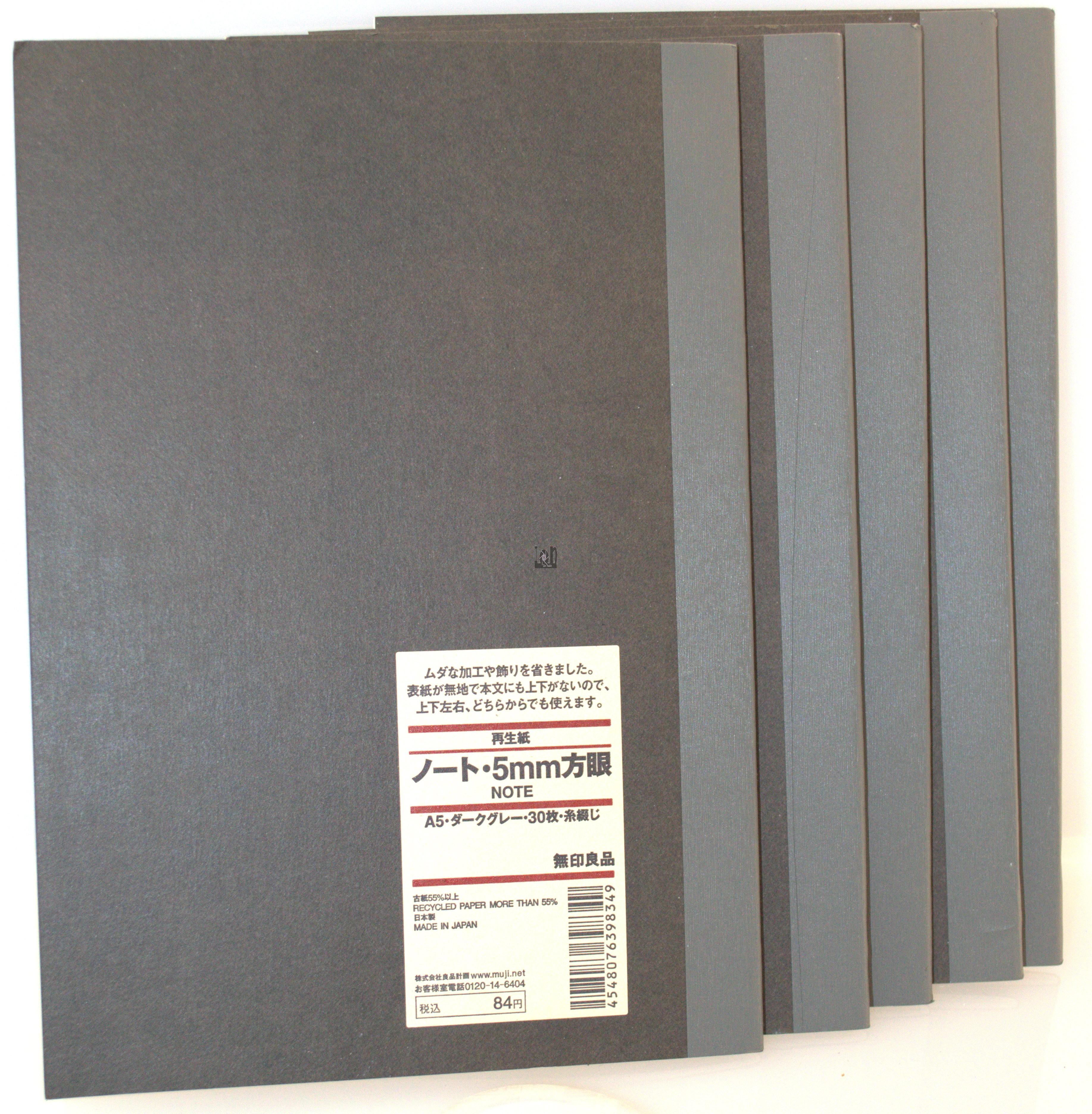 "5-Pack Muji Notebook A5 5mm Grid Japan 85pg 8-1/4 x 5-3/4"""