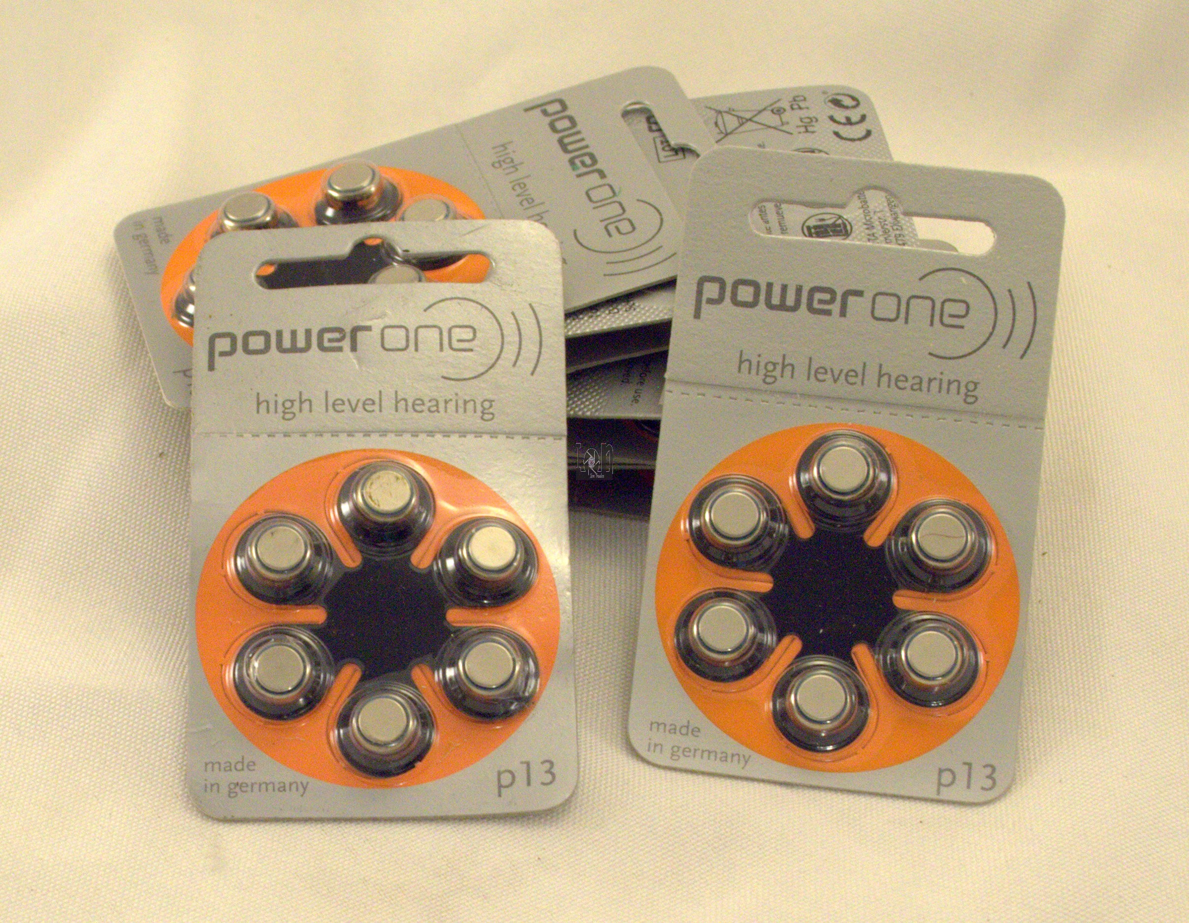 60 Power One P13 hearing Aid Batteries 2017EXP 60-Batteries 10-Packs