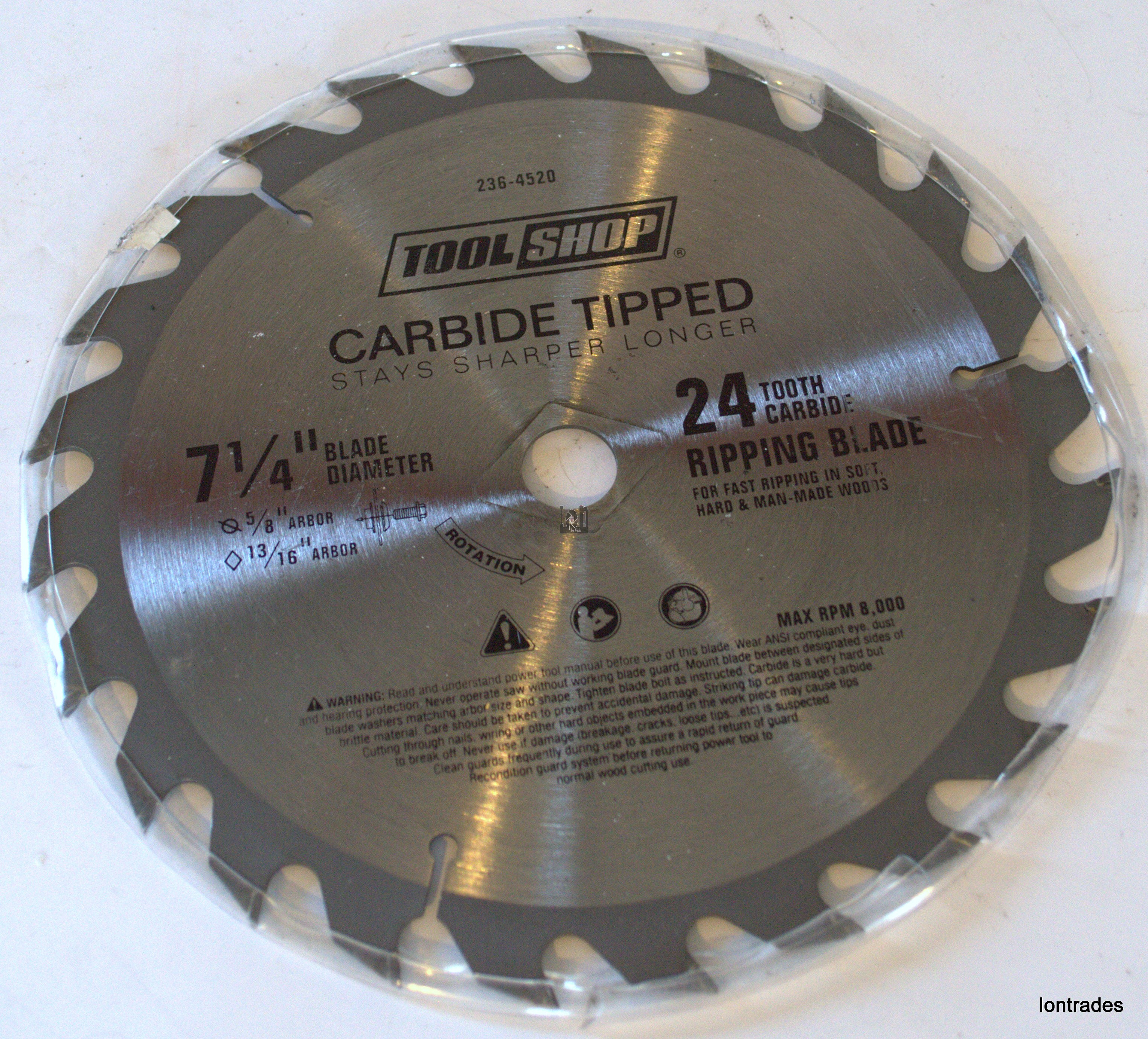 "7-1/4"" Carbide Tipped Circular Saw Blade 24-Tooth 5/8 Ripping"