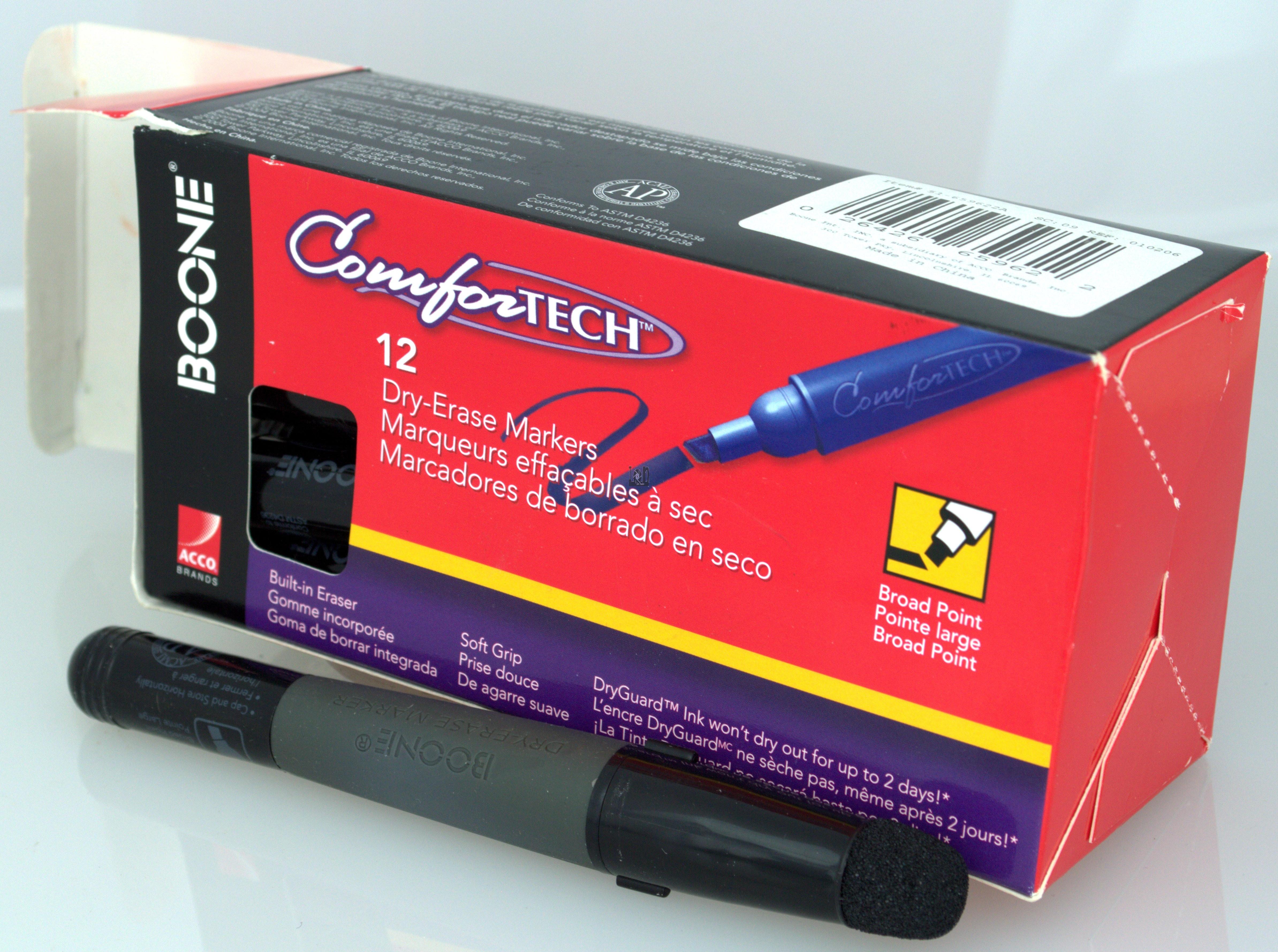 Boone Dry Erase Markers BLACK 12-Pack Broad Point