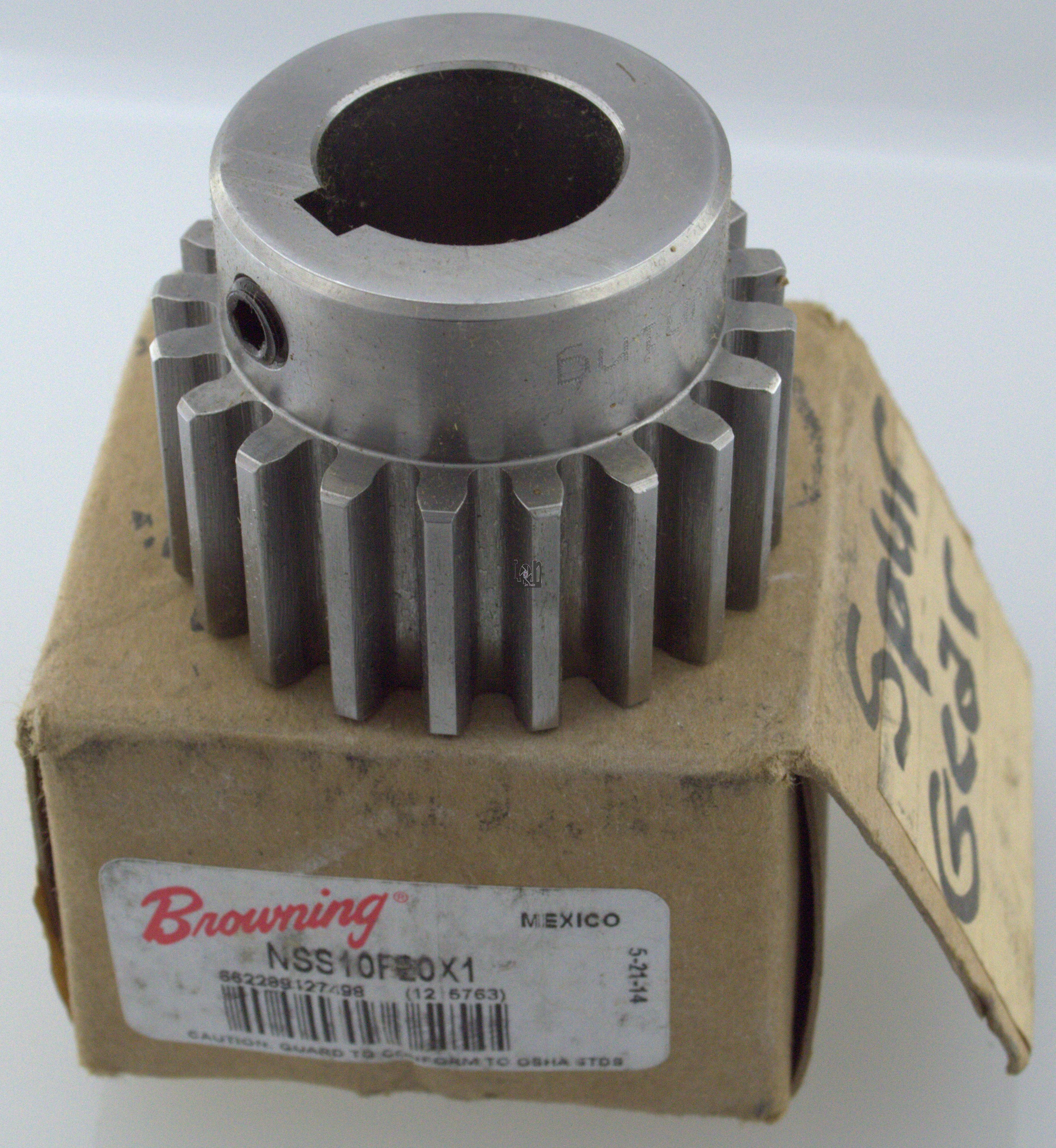 """Browning Spur Gear NSS10F20X1 1"""" Keyed Bore 20-Tooth 10DP"""