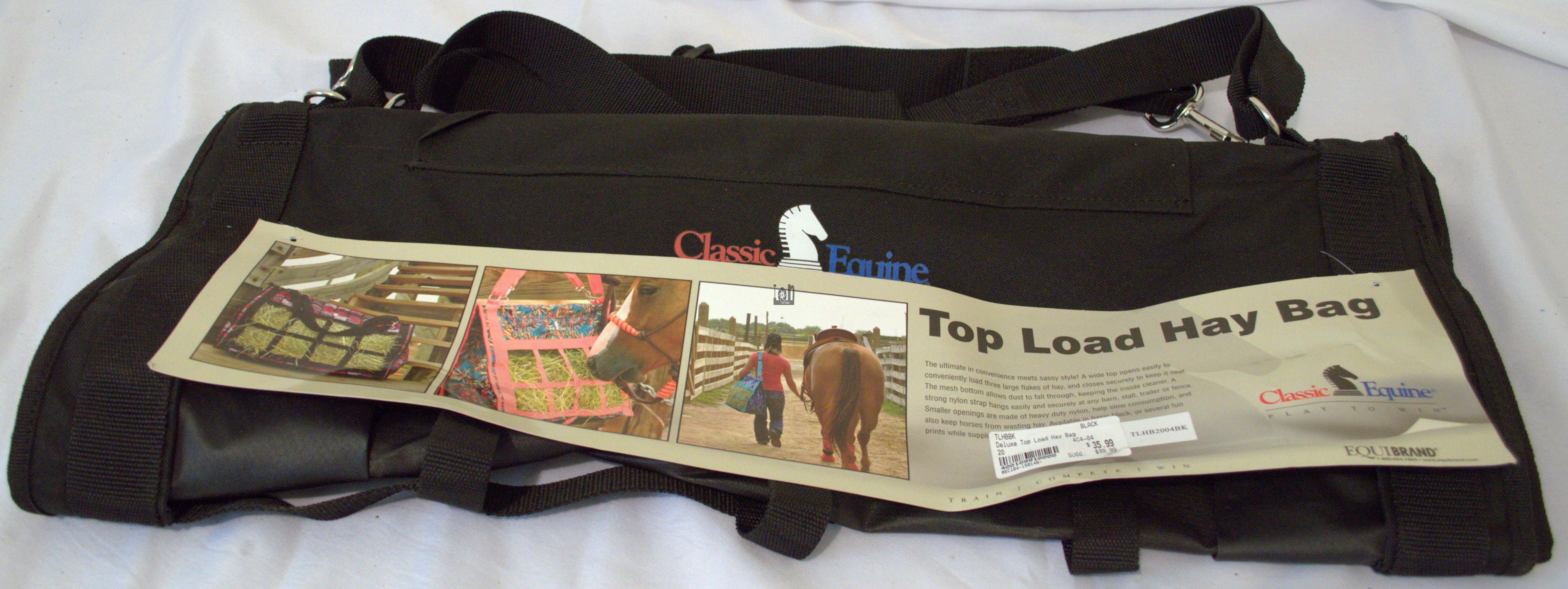 "Classic Equine Top Load Hay Bag BLACK 24"" Horse Feed Tack"