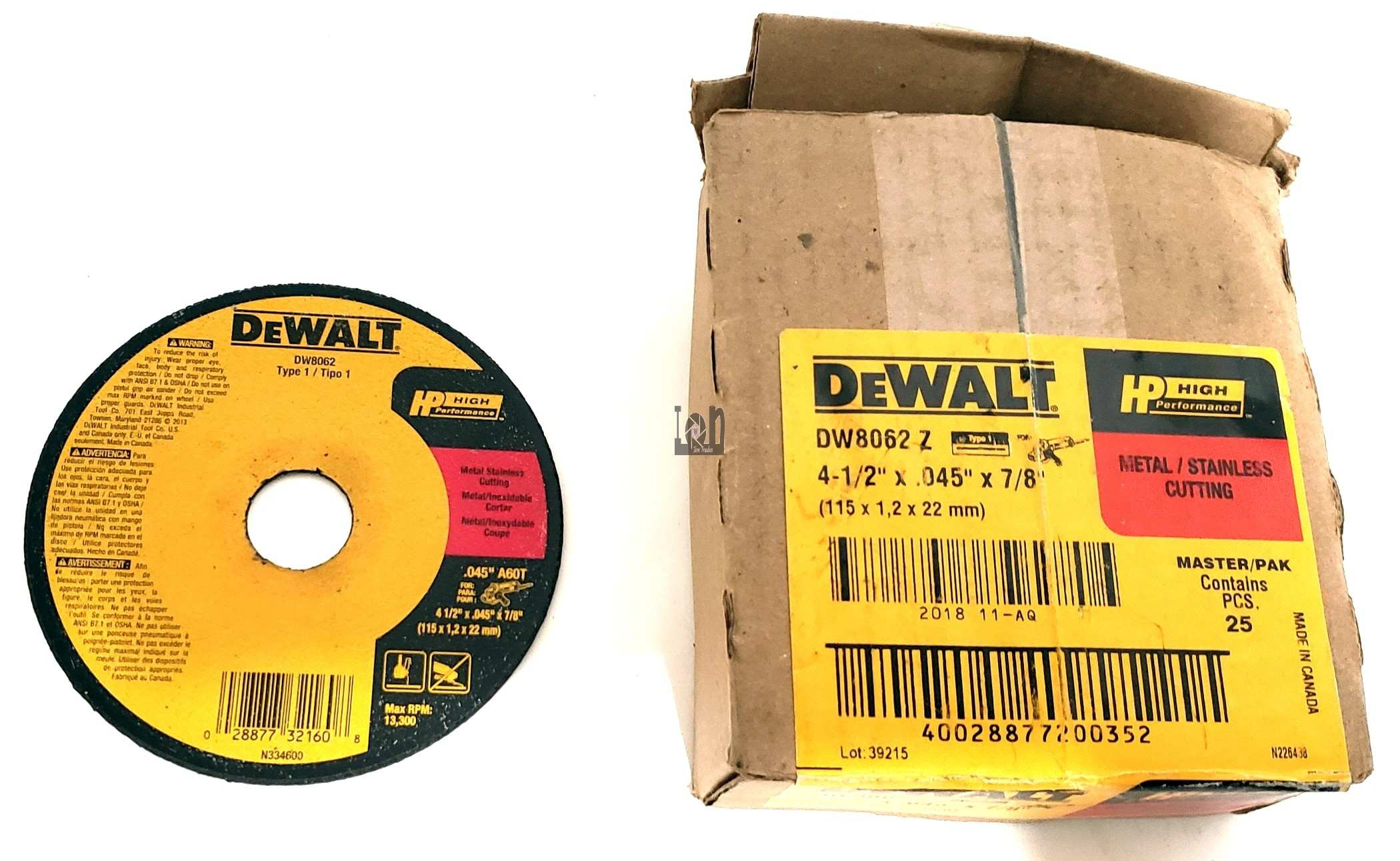 "DeWALT DW8062 4.5"" Cut Off Wheels 25Pk .045 x 7/8"" Metal Stainless"