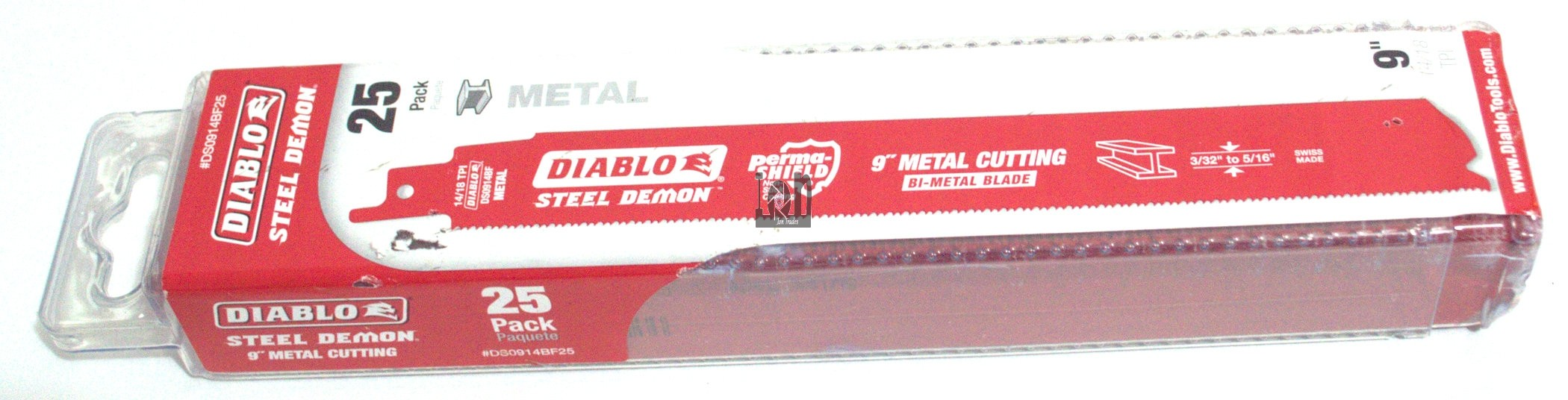 "Diablo DS0914BF25 25pk Reciprocating Saw Blade 9"" Metal Cutting 14/18TPI"