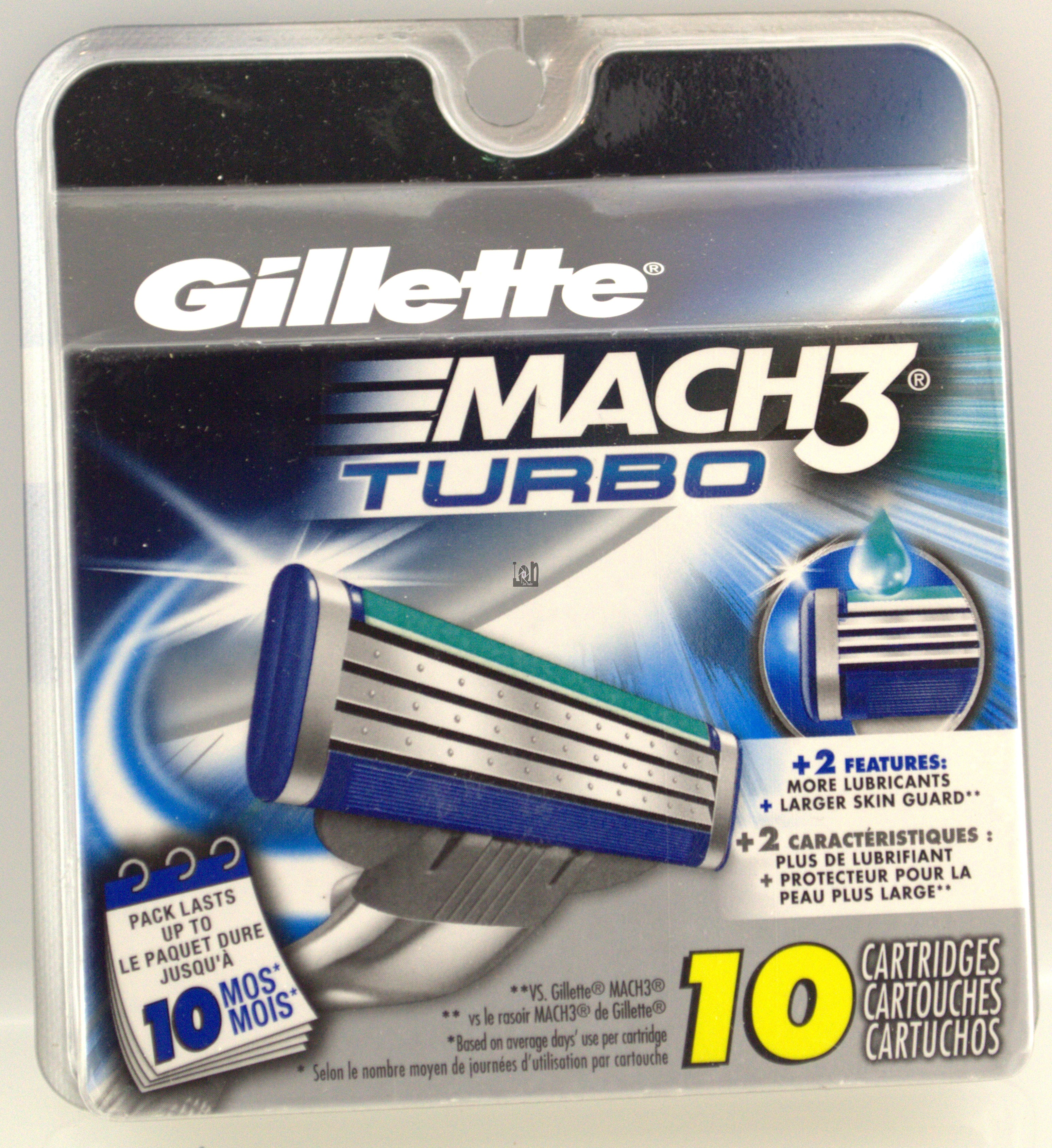 Gillette Mach3 Turbo Refill 10Pack Replacement Blades