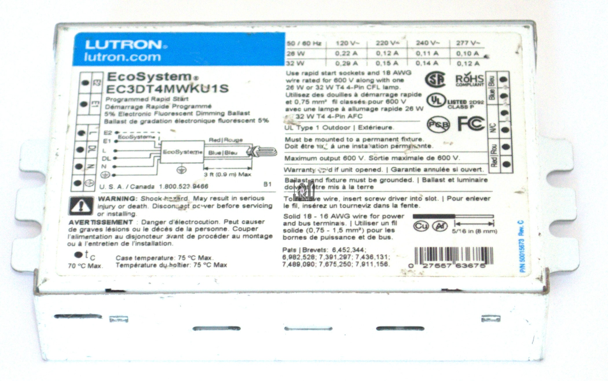 Lutron EC3DT4MWKU1S EcoSystem 5% Electronic Fluorescent Dimming Ballast