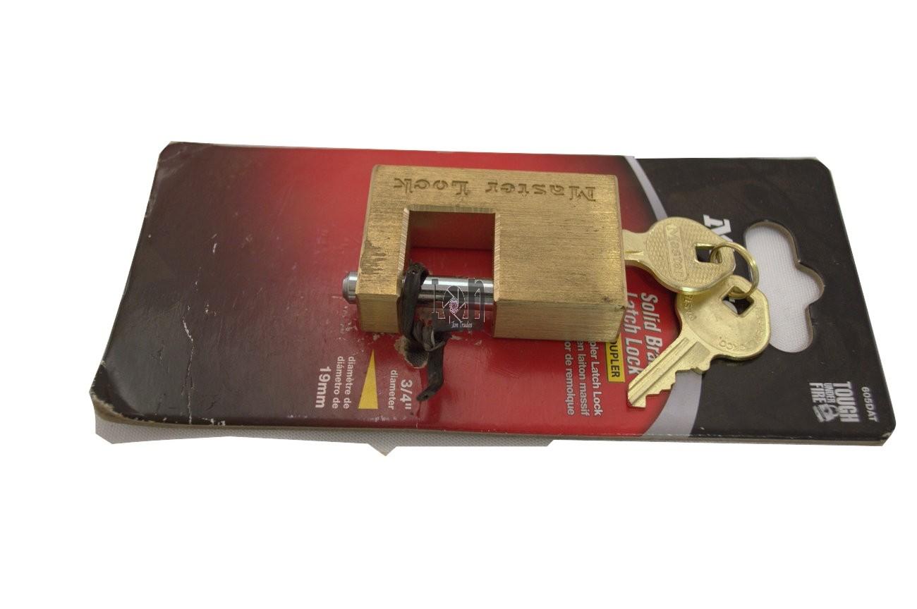 Master Lock 605DAT Solid Brass Padlock for Trailer Coupler