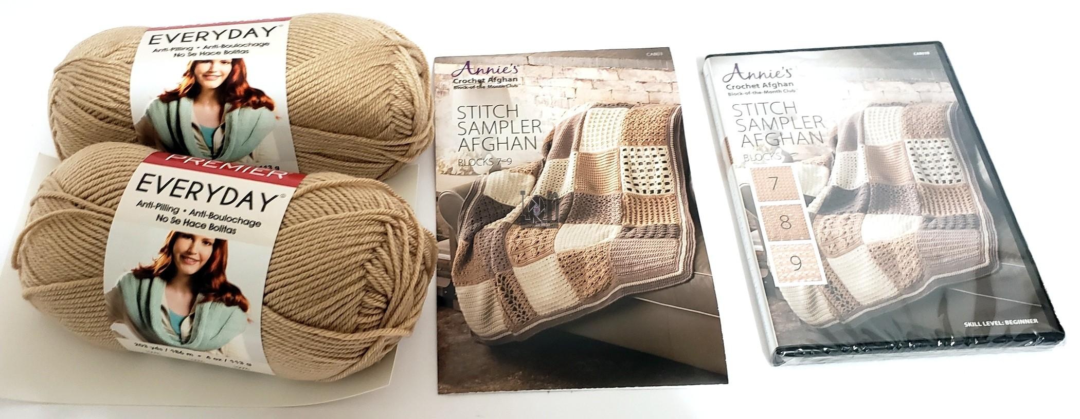 New Annies Crochet Afghan Pattern Kit Blocks 7 -9 DVD Kit