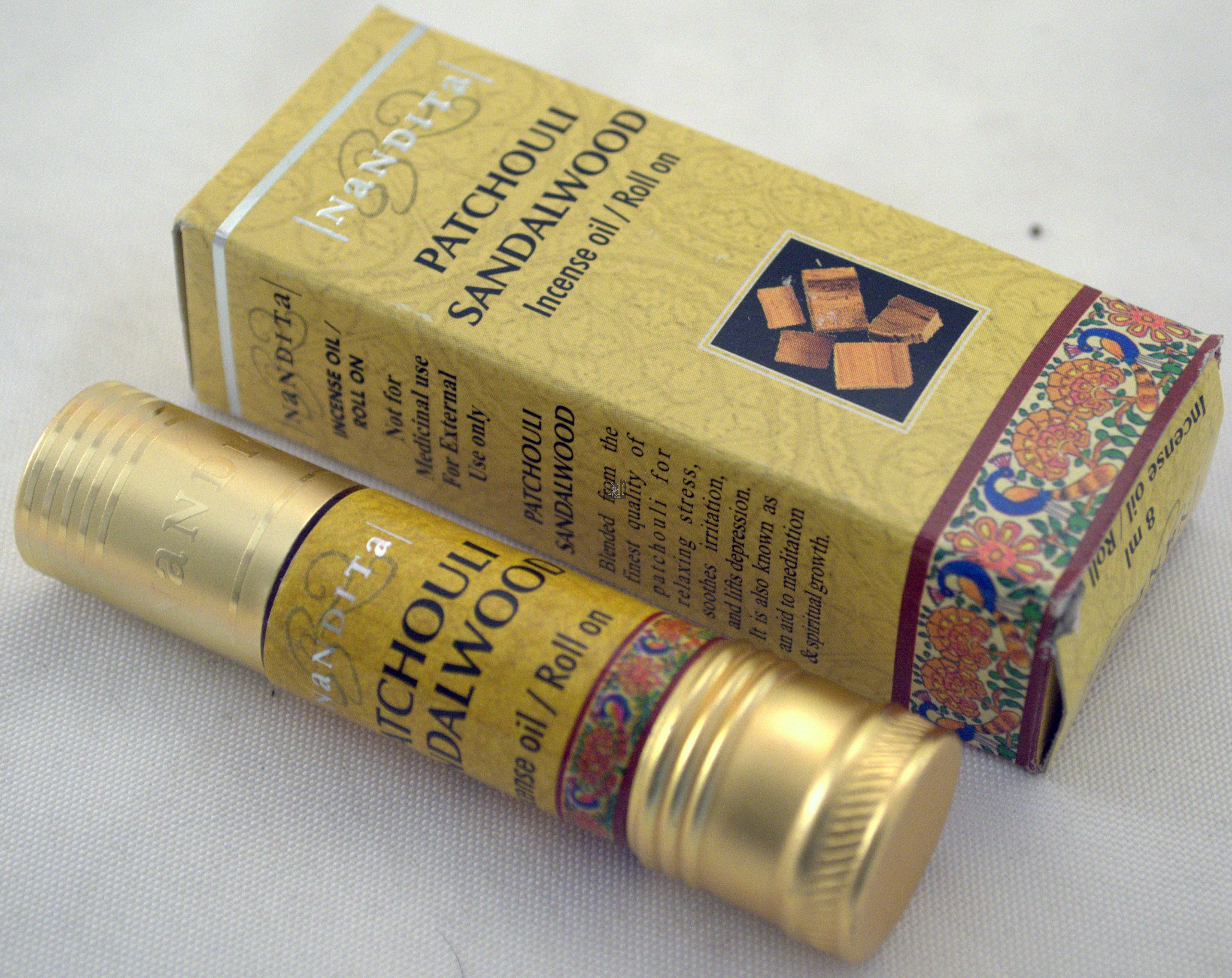 Patchouli Sandalwood Nandita Incense Oil 1/4oz Roll On Bottle