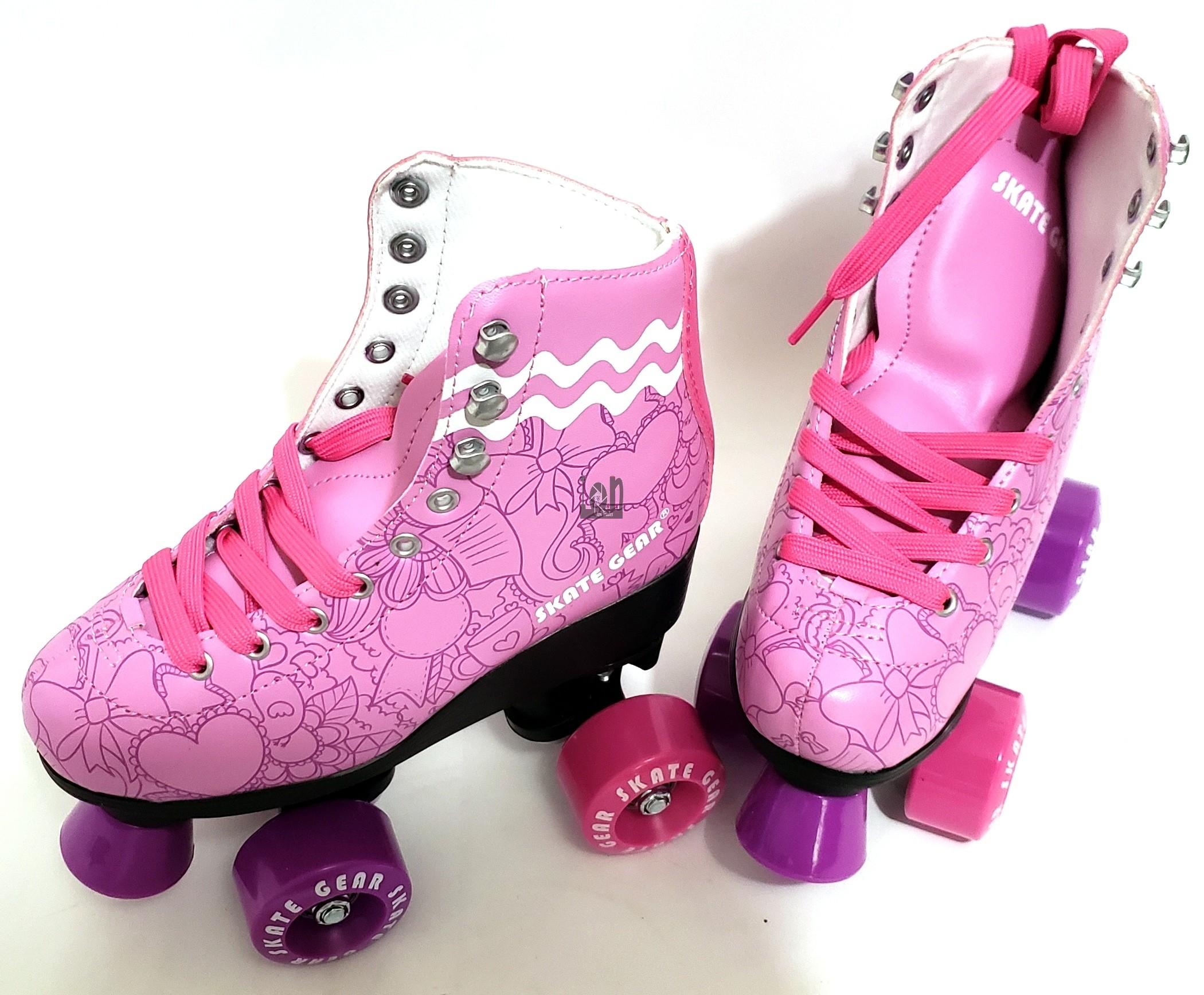 Skate Gear Purple Roller Skates Leather PK Size 2 US