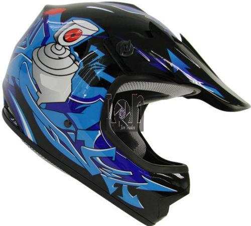 Youth Large Helmet Motorcross Offroad ATV Blue TMS HY601