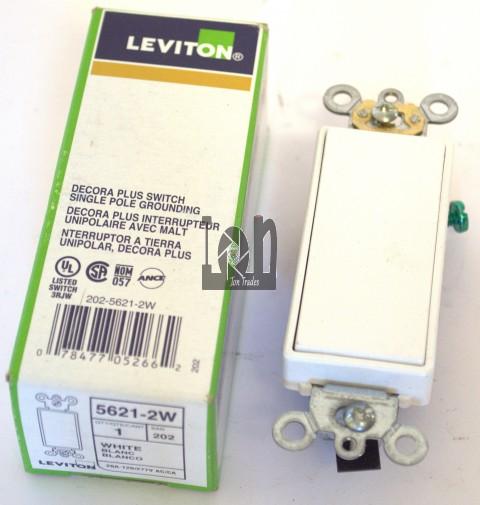 Leviton 5621-2W White Rocker Switch 20A 120/277AC Single