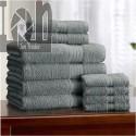 Alcove 10pc Towel Set Fast Dry Bath Set Dark Shadow Color (Blue-Grey)