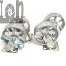 "4pc Set of All Steel Caster Wheels Swivel Locking 6"" x 2"" Plate Casters"