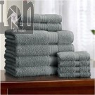 Alcove 10pc Towel Set Fast Dry Bath Set Dark Shadow Color (Blue-Grey)