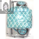 Folding Trolley Dolly Morrocan Blue Folding Cart w Grocery Bag Carrying Strap