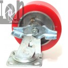"ONE Locking Swivel Caster Wheel 6x2"" Non Marring RED, 7.75"" Overall Height"