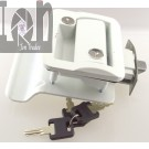 WHITE RV Door Lock Set Latch and Keys Entry Paddle Handle Latch Trailer Parts