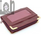 Zip Up Credit Card Case Burgundy Red 16-Sleeve Wallet