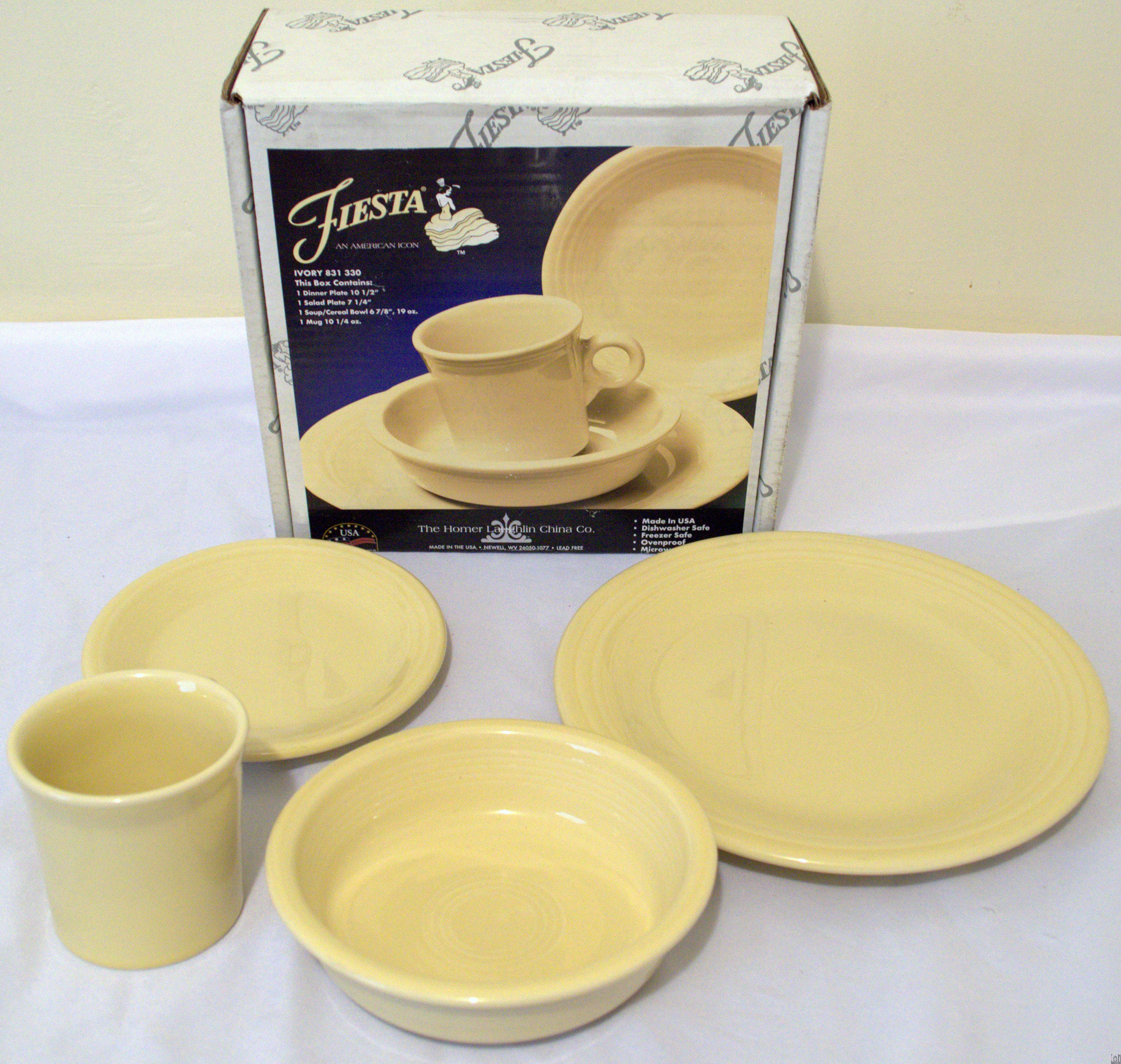 Fiesta Dinnerware 4-Piece Place Setting IVORY Made in USA