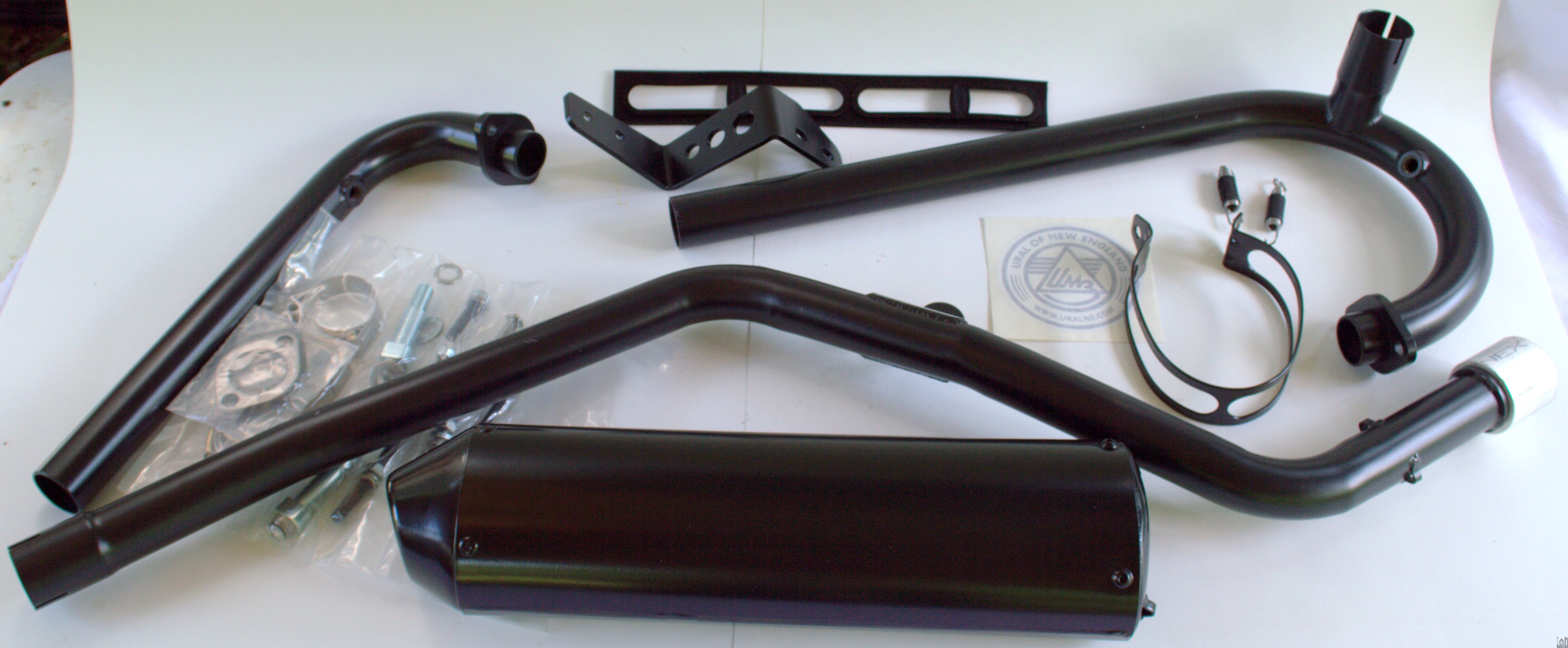 Oem Ural Motorcycle Parts 2 Into 1 High Mount Exhaust Black