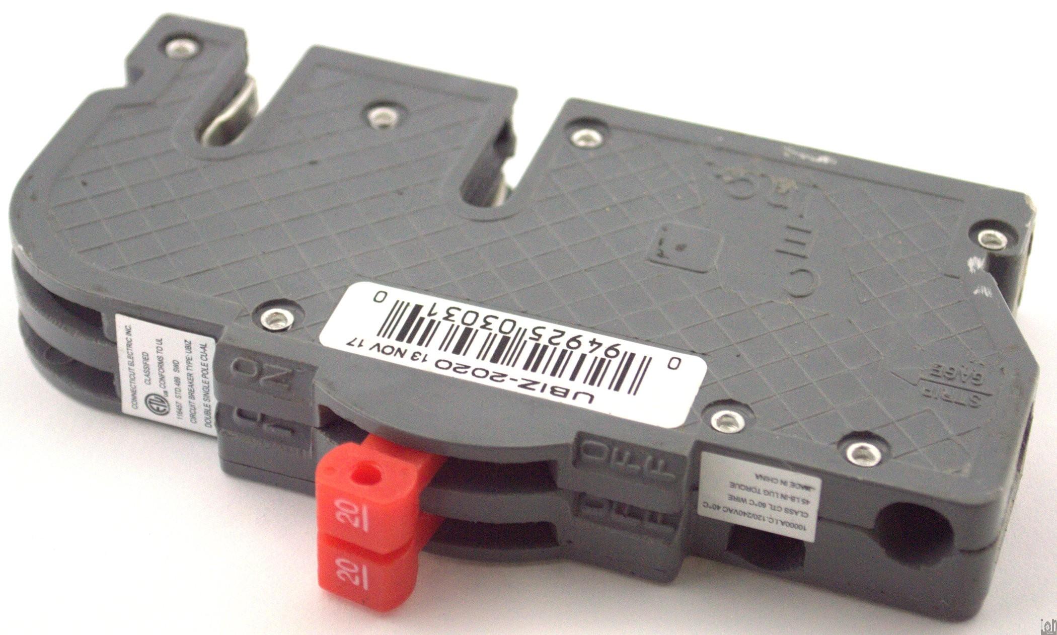 ubiz 2020 twin 20a circuit breaker fuse zinsco r3820. Black Bedroom Furniture Sets. Home Design Ideas